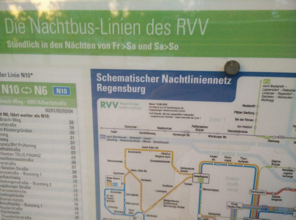 Nachtlinienplan für Regensburg